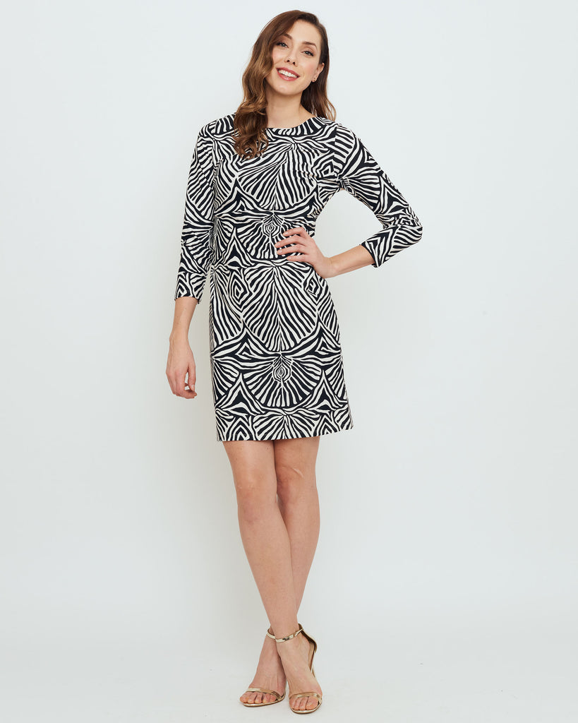 Adonara 3/4 Sleeve Boatneck Dress in Black Safari Stripes