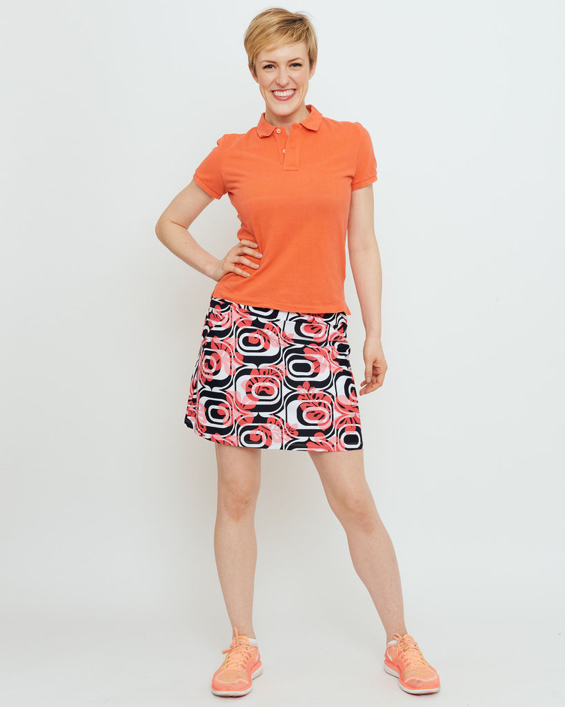 Tenerife Skort in Coral Optic Hibiscus