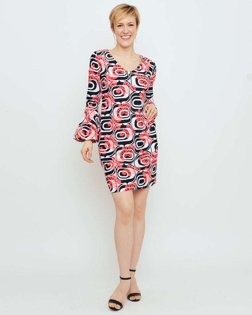 Leyte Bell Sleeve Dress in Coral Optic Hibiscus