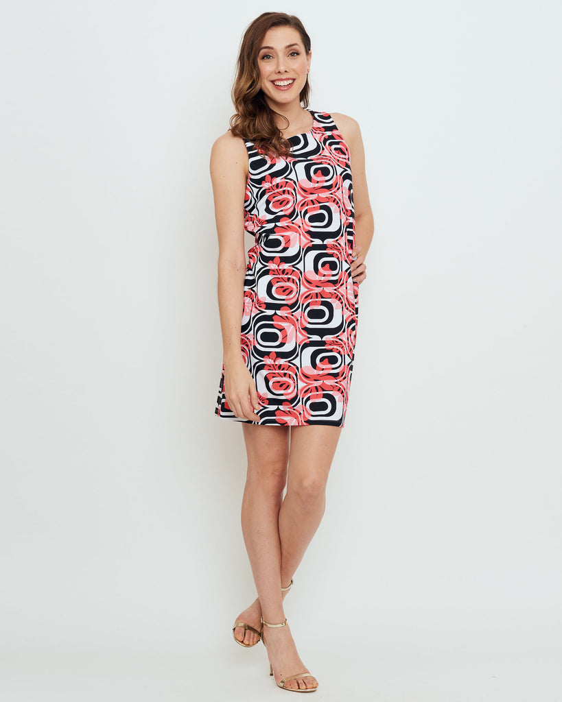 Capri Sheath Dress in Coral Optic Hibiscus