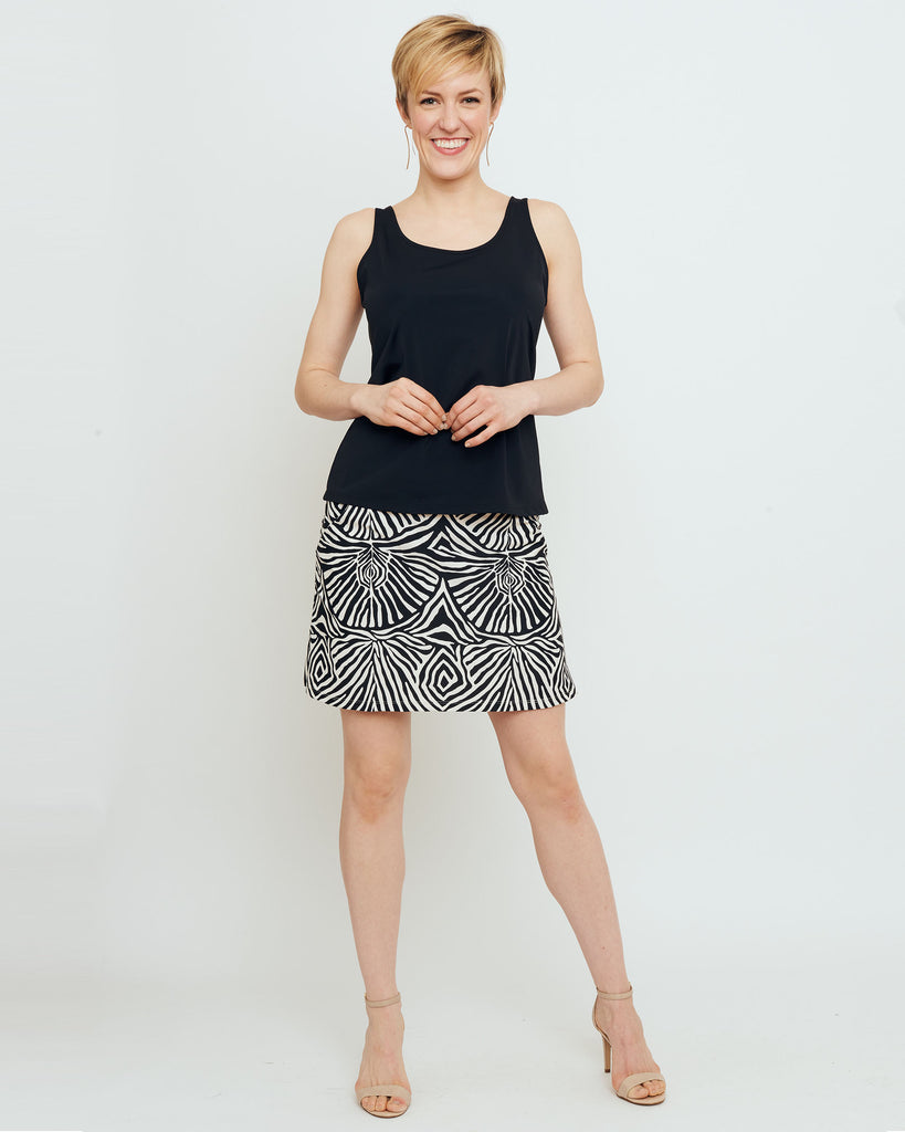 Tenerife Skort in Black Safari Stripes