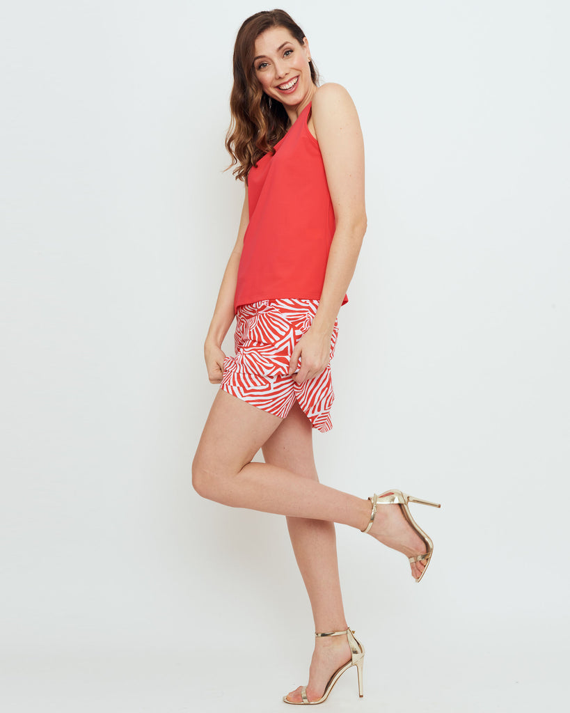 Tenerife Skort in Coral Safari Stripes