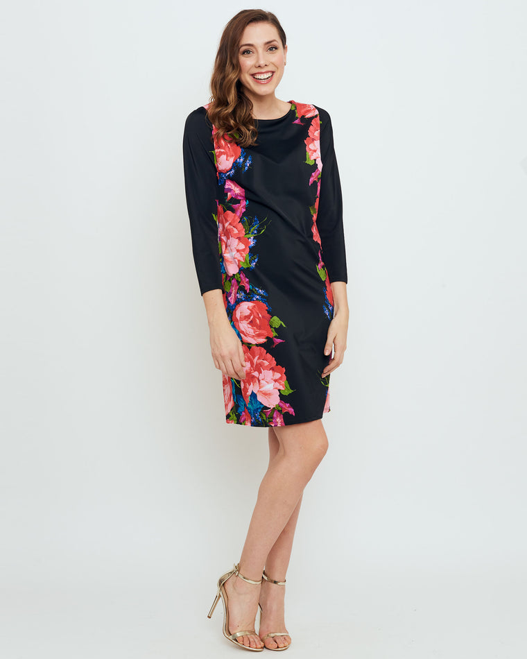 Adonara 3/4 Sleeve Boatneck Dress in American Rose