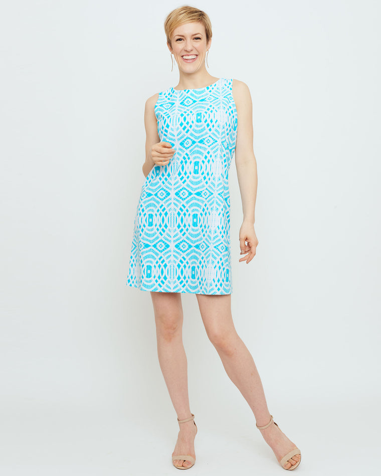 Capri Sheath Dress in Turquoise Lattice Lace