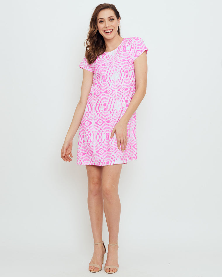 Ibiza T-Shirt Dress in Hot Magenta Lattice Lace