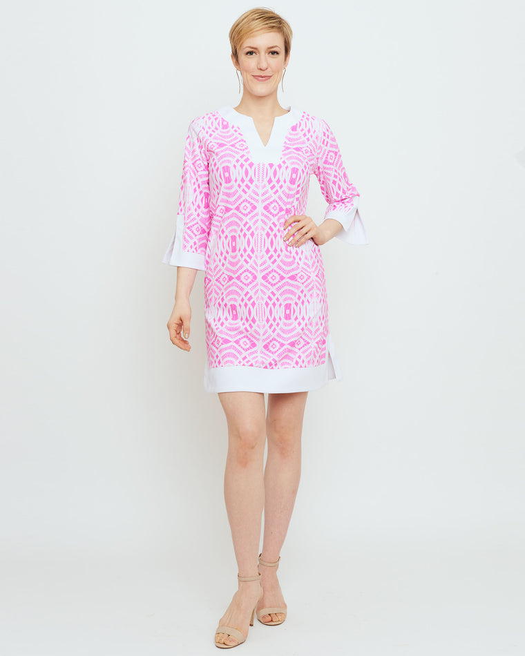 Lakena Tunic Dress in Hot Magenta Lattice Lace