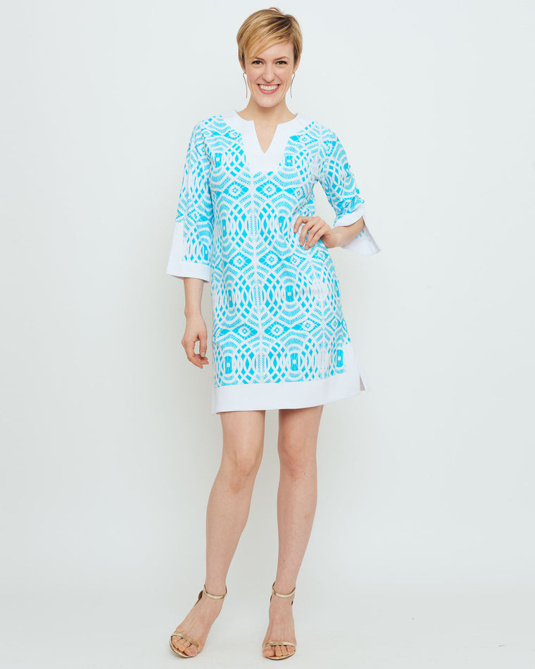 Lakena Tunic Dress in Turquoise Lattice Lace