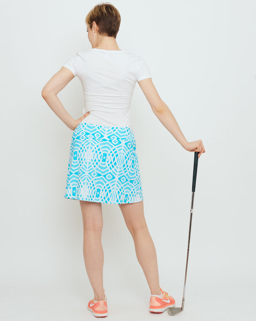 Tenerife Skort in Turquoise Lattice Lace
