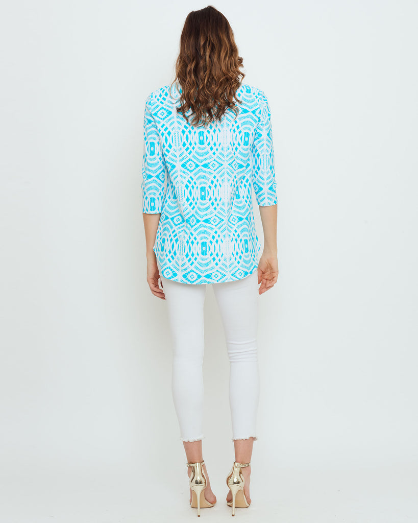 Batam Mandarin Top in Turquoise Lattice Lace