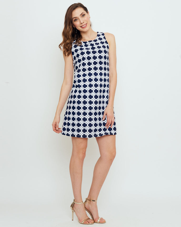 Capri Sheath Dress in Navy Nautical Knots