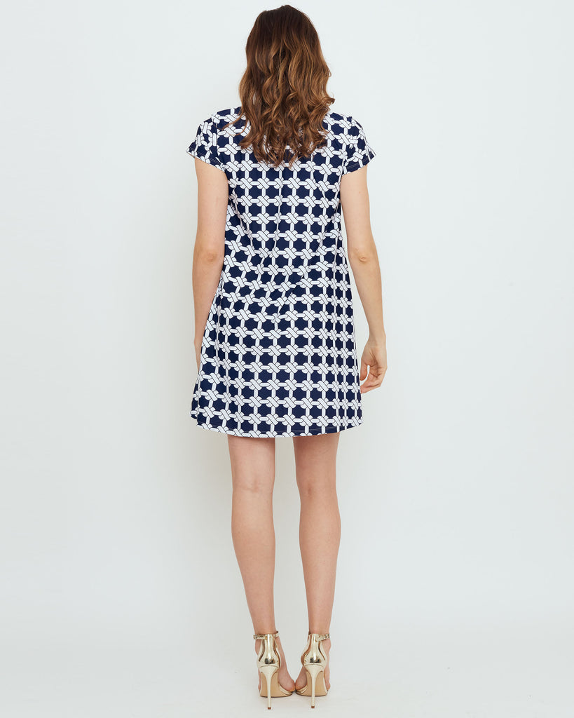 Ibiza T-Shirt Dress in Navy Nautical Knots