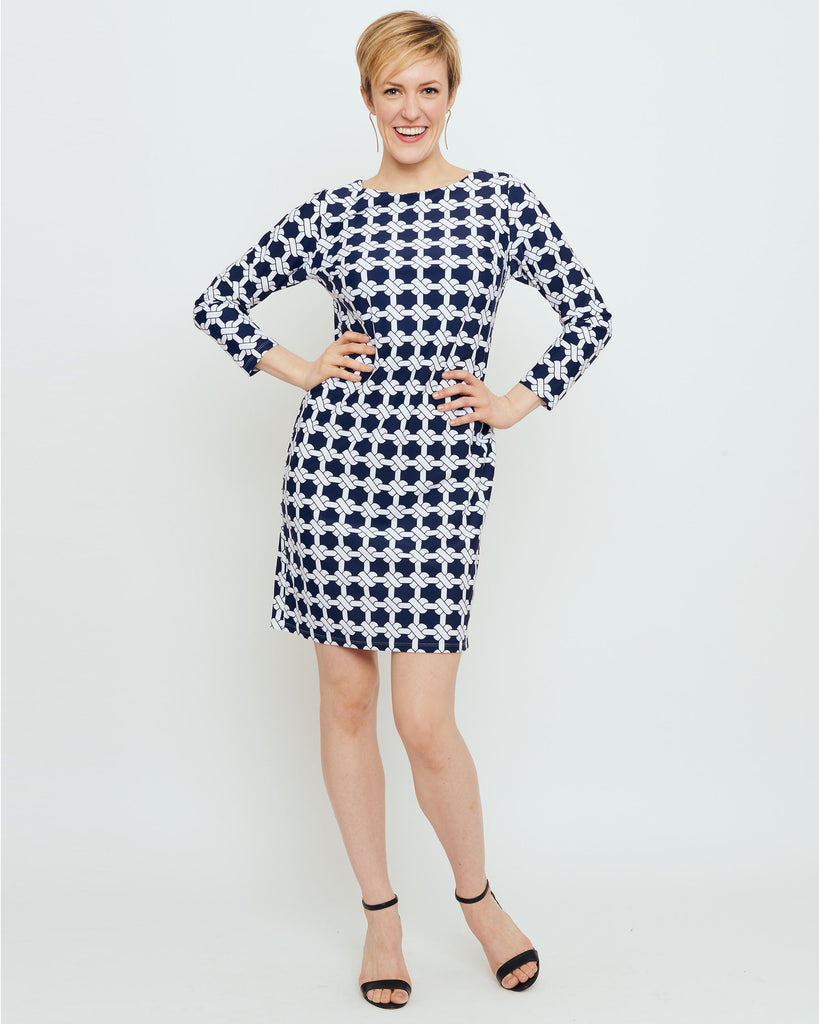 Adonara 3/4 Sleeve Boatneck Dress in Navy Nautical Knots