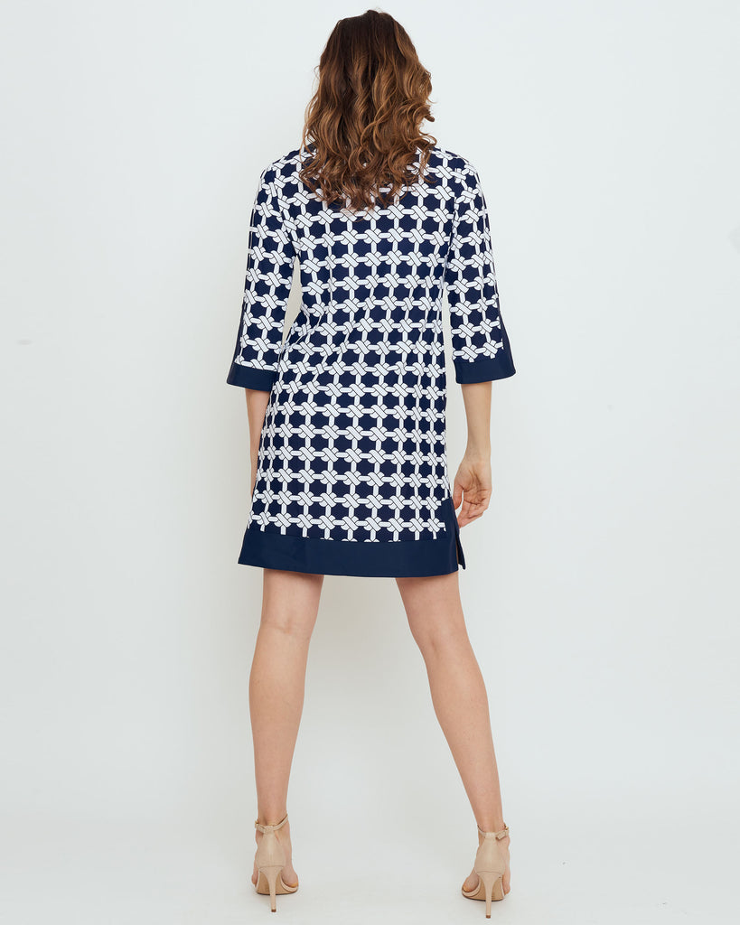 Lakena Tunic Dress in Navy Nautical Knots