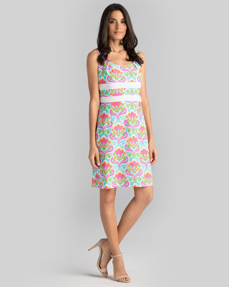 Antigua Sheath Dress in Multi Full Bloom