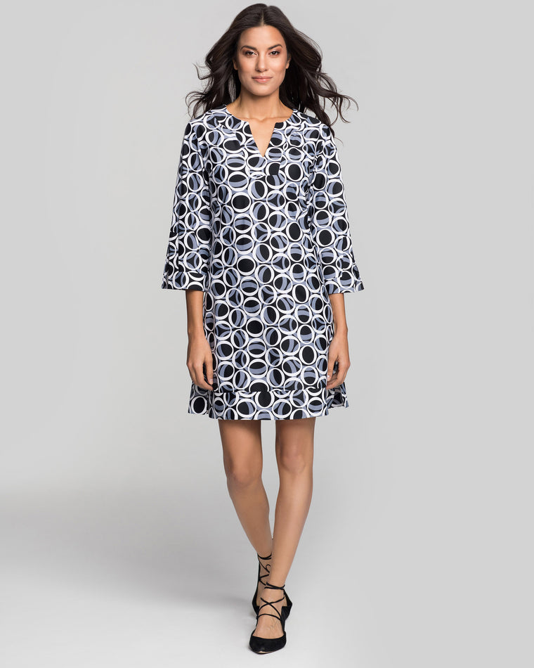Avian Tunic Dress in Black & White Ellipses