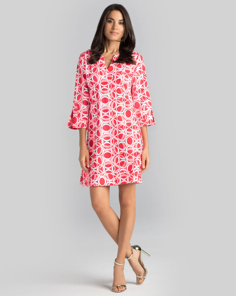 Avian Tunic Dress in Hot Coral Ellipses