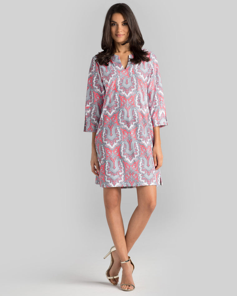 Avian Tunic Dress in Hot Coral Royal Scroll