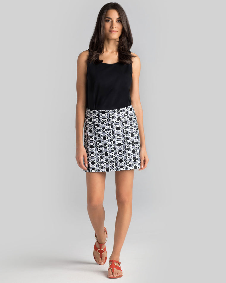 Bali Skort in Black & White Ellipses