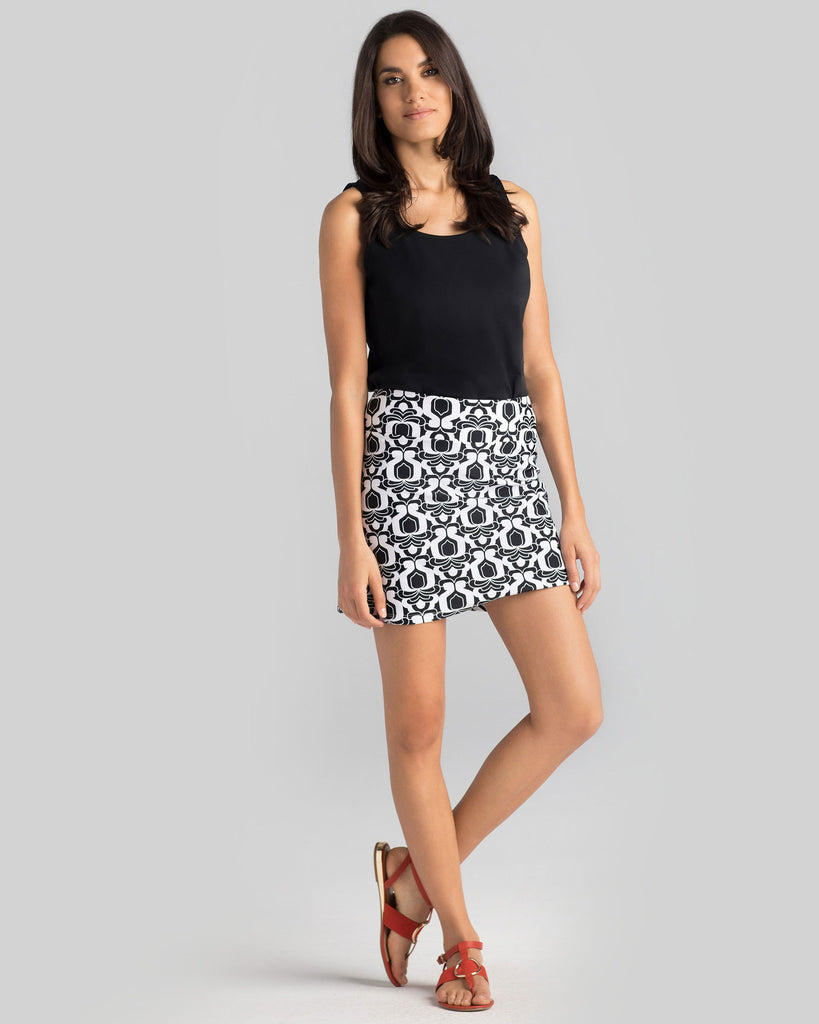 Bali Skort in Black & White Iberia Tiles