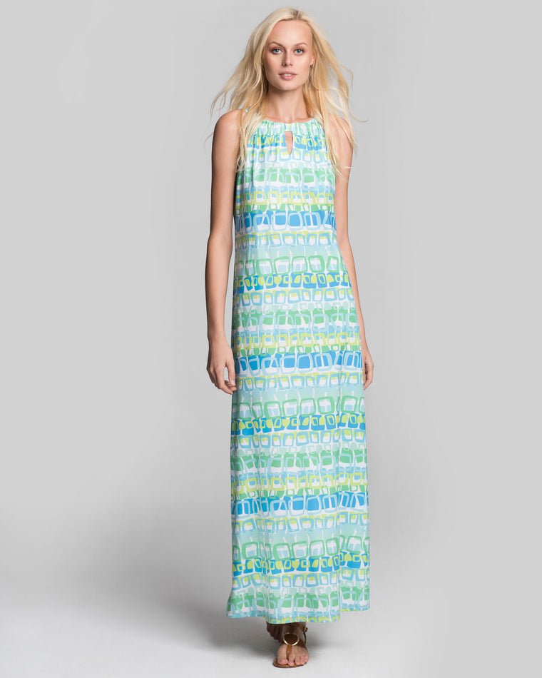 Bougainville Maxi Dress in Blue Loops