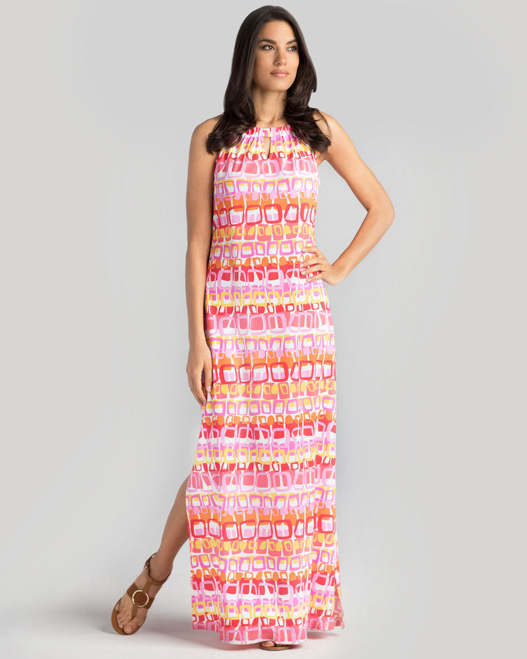 Bougainville Maxi Dress in Pink Loops