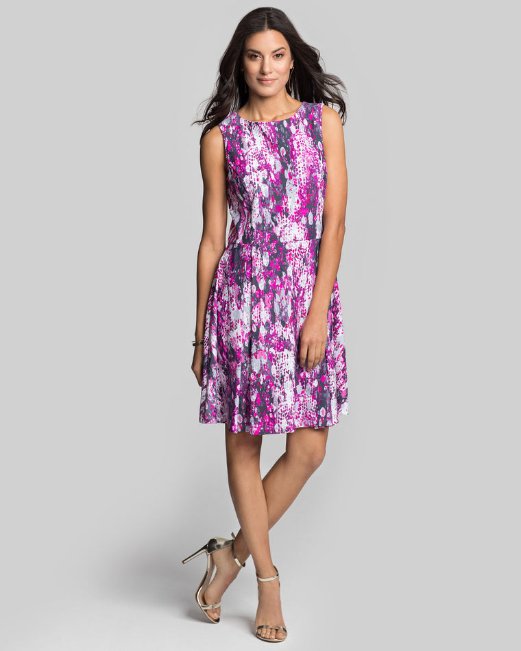 Brava Fit-n-Flare Dress in Hot Pink Sugar Crush