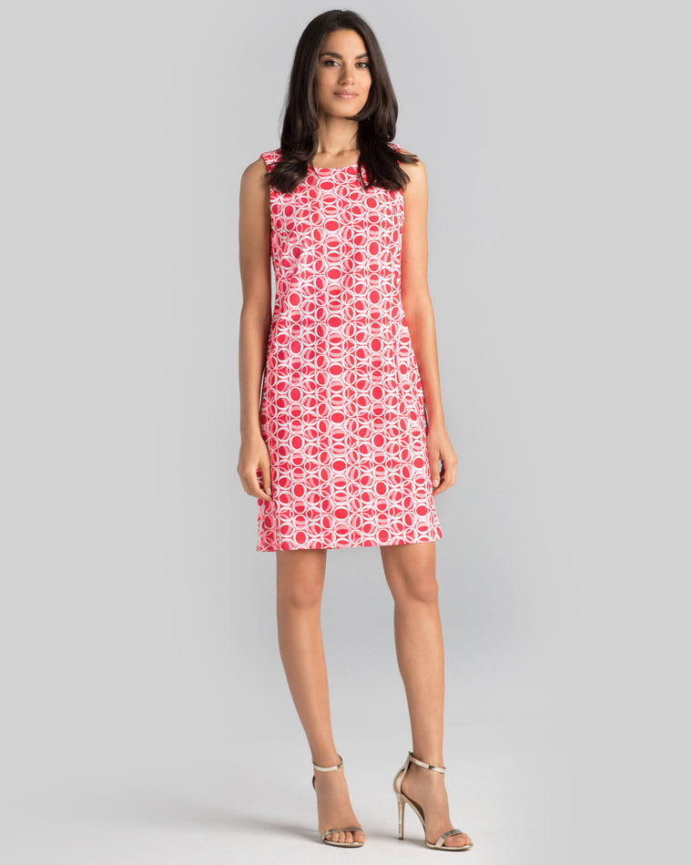 Capri Sheath Dress in Hot Coral Ellipses