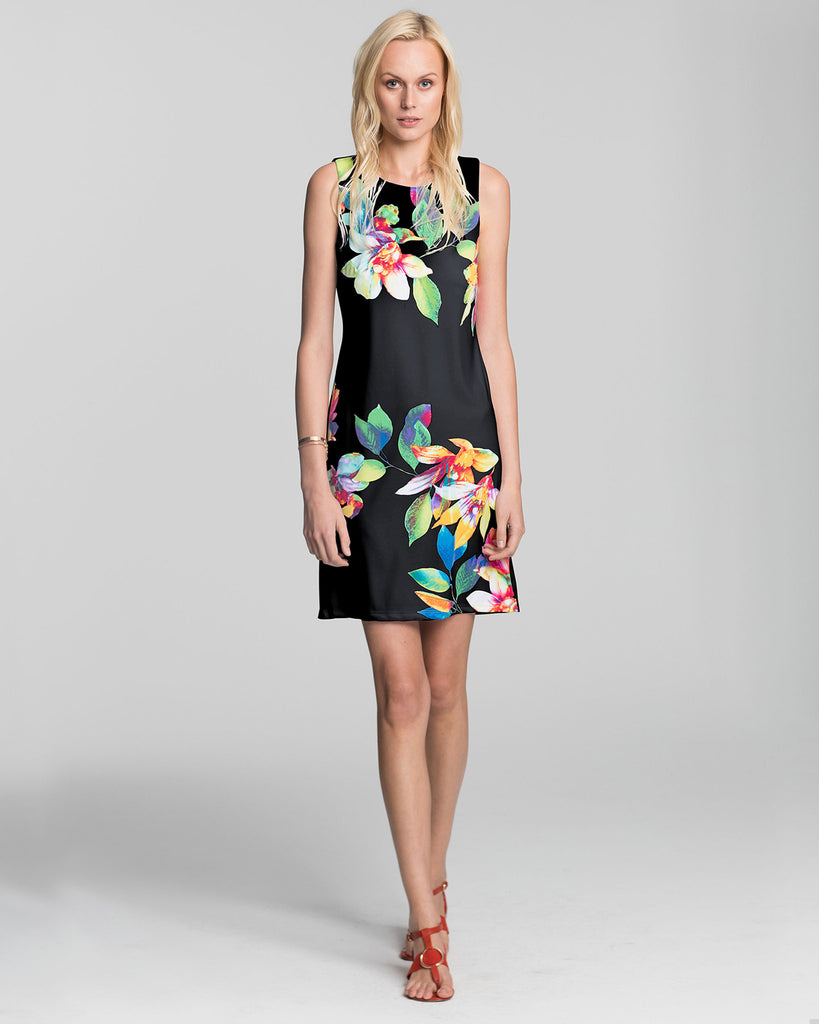 Capri Sheath Dress in Black Tropical