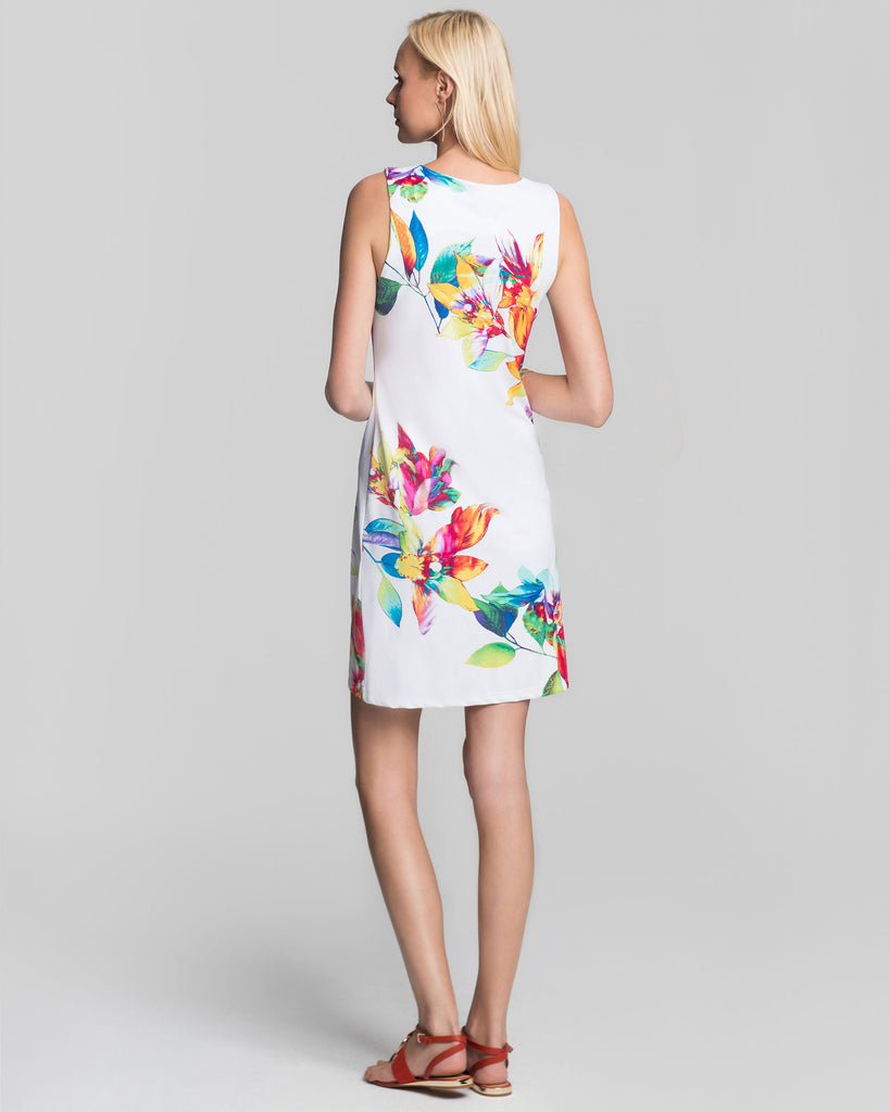 Capri Sheath Dress in White Tropical