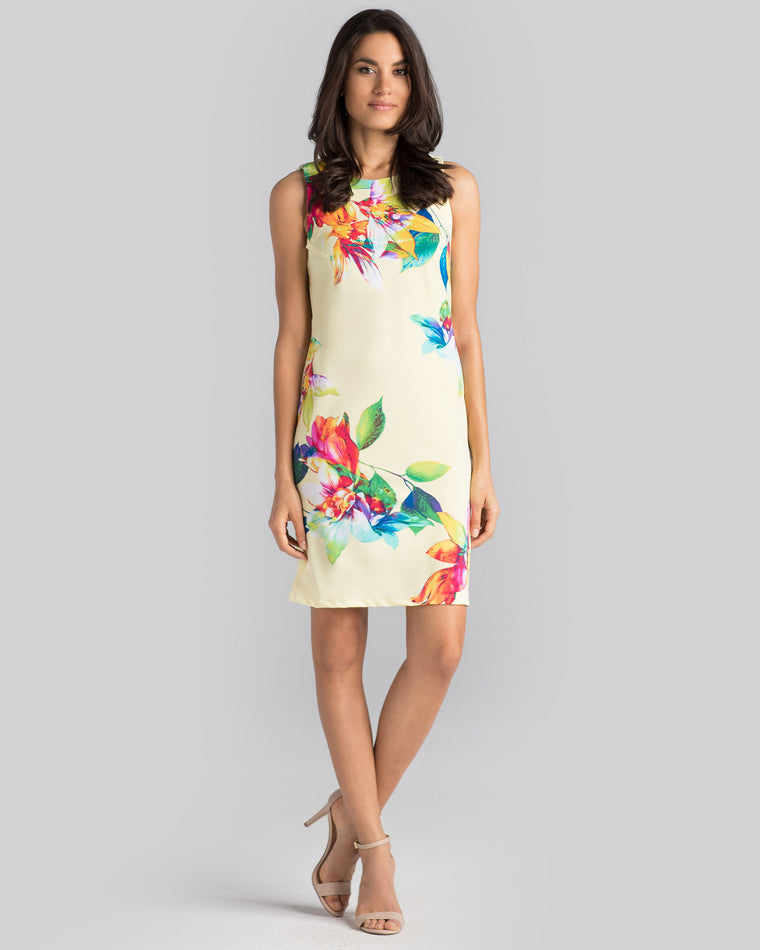 Capri Sheath Dress in Yellow Tropical
