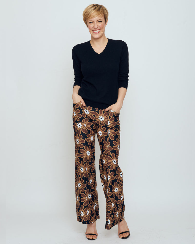 Cartier Flare Leg Pant in Brown Veracruz Daisy