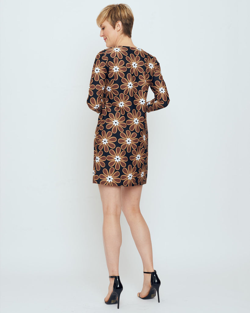 Adonara 3/4 Sleeve Boatneck Dress in Brown Veracruz Daisy