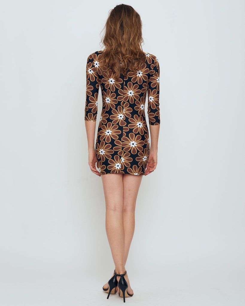 Adelaide Mini Dress in Brown Veracruz Daisy
