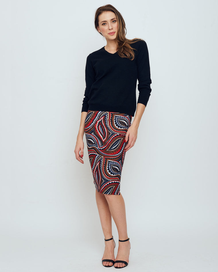 Thule Pencil Skirt in Red Vivacious Dot