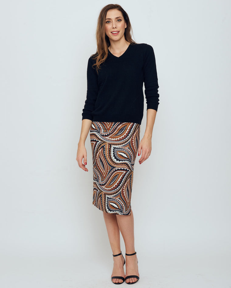 Thule Pencil Skirt in Brown Vivacious Dot