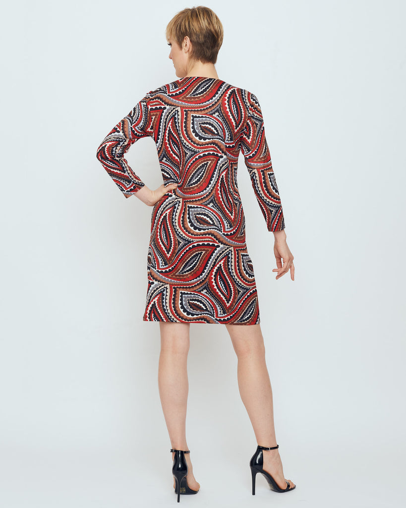 Barbuda 3/4 Sleeve V-Neck Dress in Red Vivacious Dot
