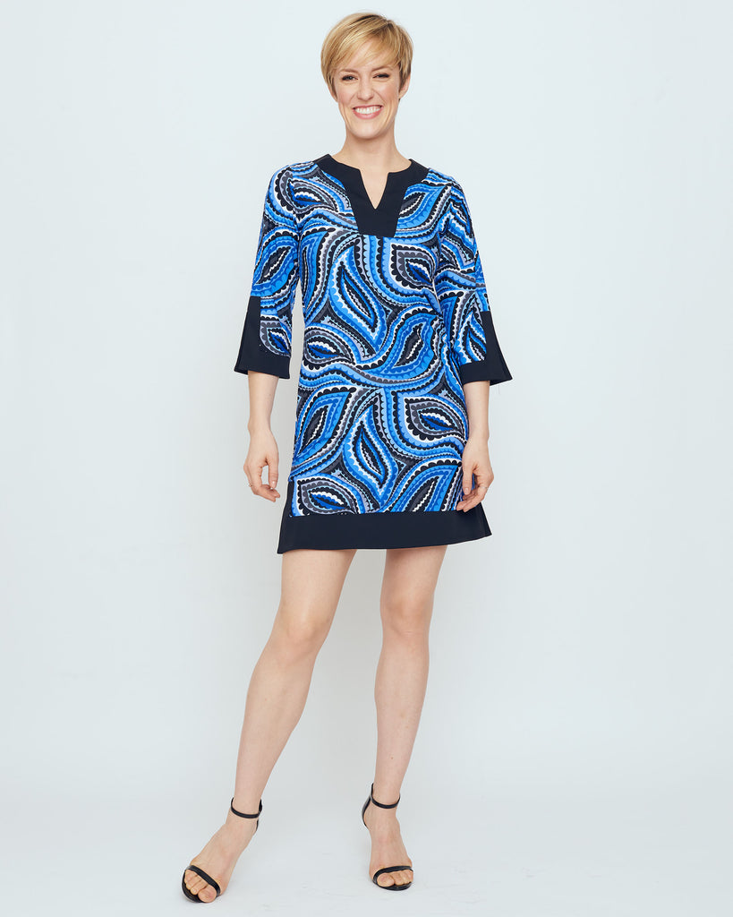 Avian Tunic Dress in Cobalt Vivacious Dot