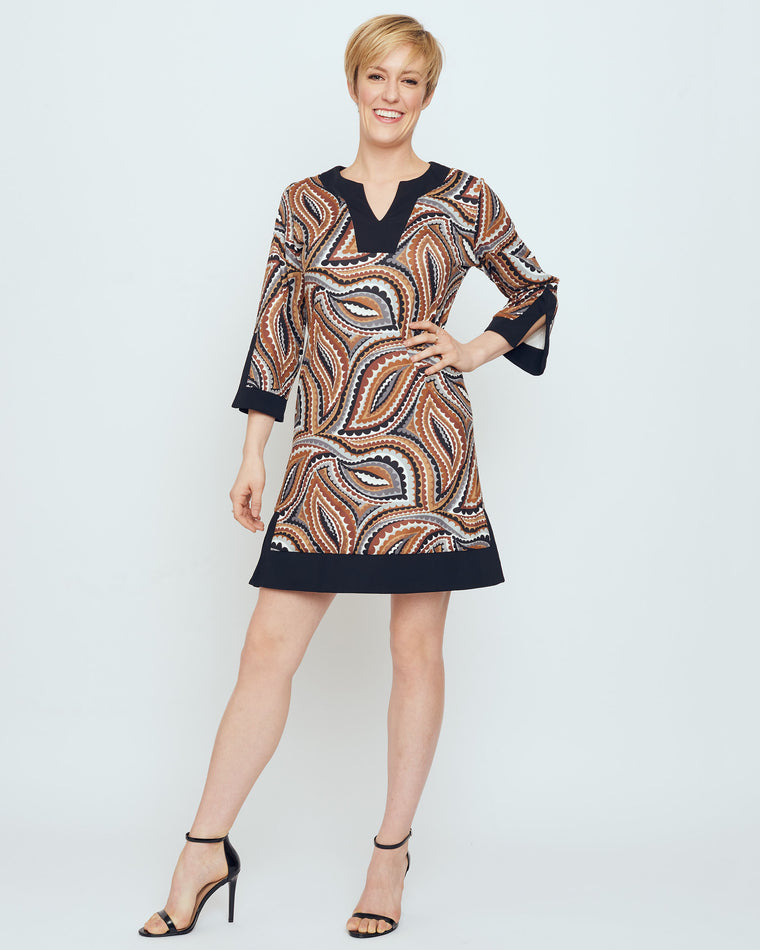 Avian Tunic Dress in Brown Vivacious Dot