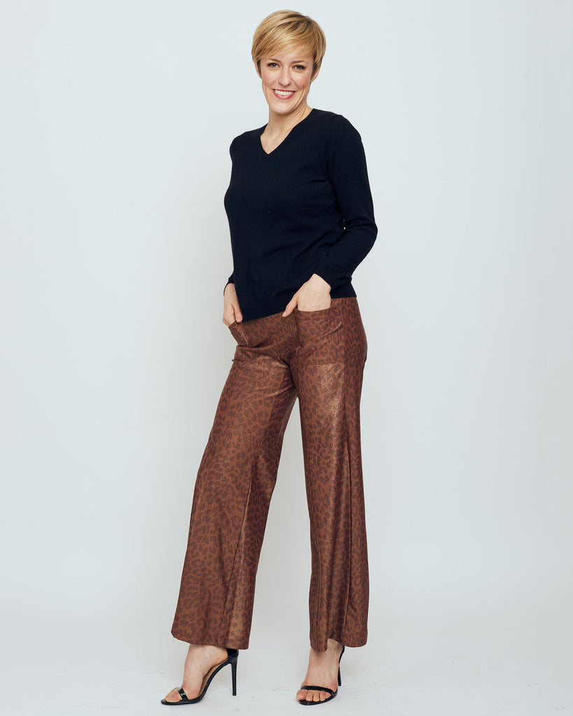 Cartier Flare Leg Pant in Brown Metallic Snow Leopard