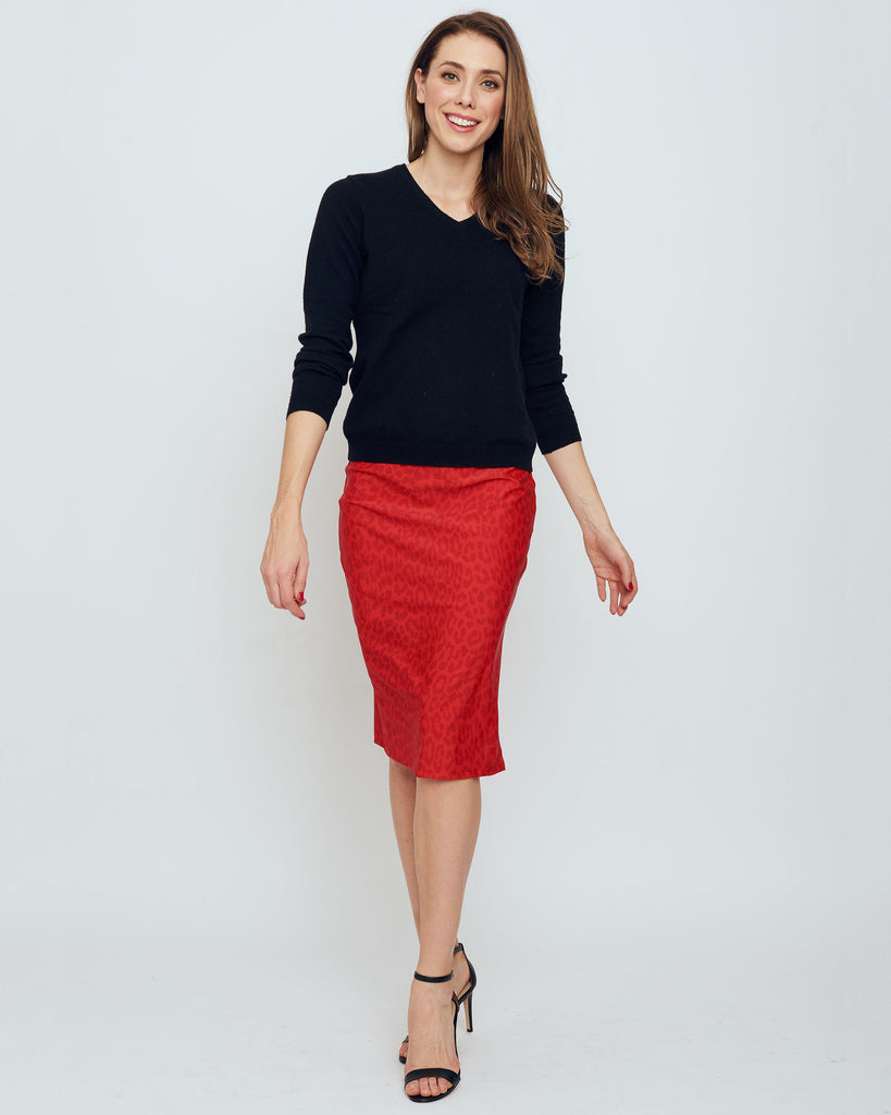 Thule Pencil Skirt in Red Snow Leopard
