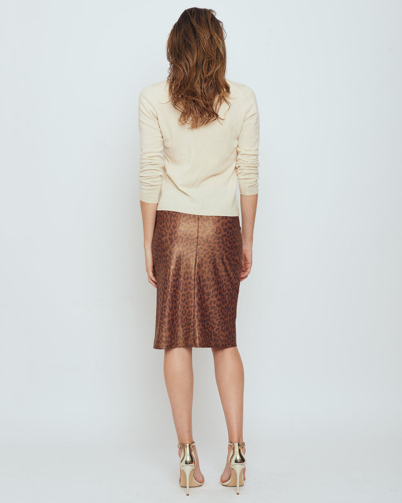 Thule Pencil Skirt in Brown Metallic Snow Leopard