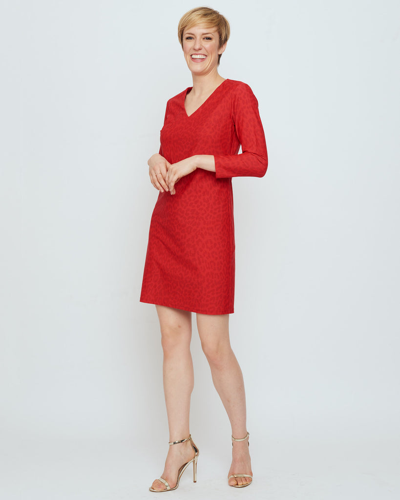 Barbuda 3/4 Sleeve V-Neck Dress in Red Snow Leopard