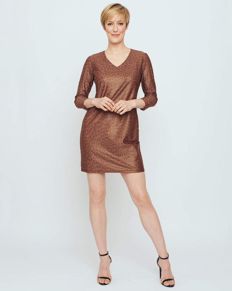 Barbuda 3/4 Sleeve V-Neck Dress in Brown Metallic Snow Leopard