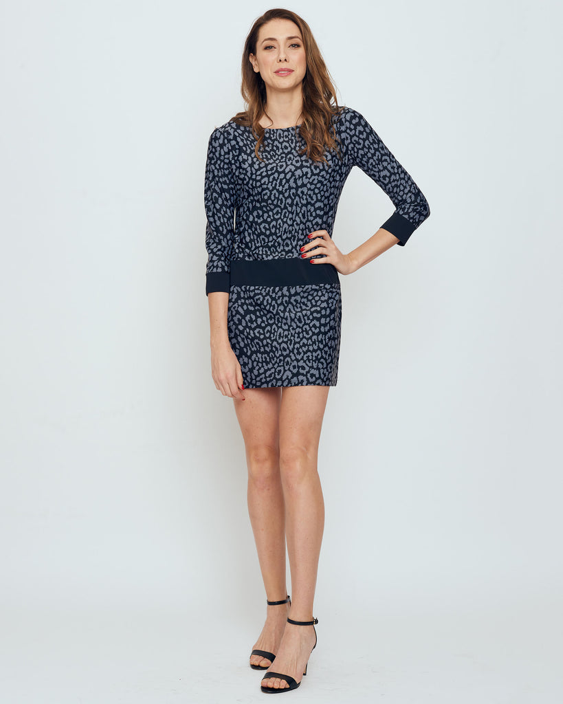 Froya Drop Waist Dress in Grey Snow Leopard
