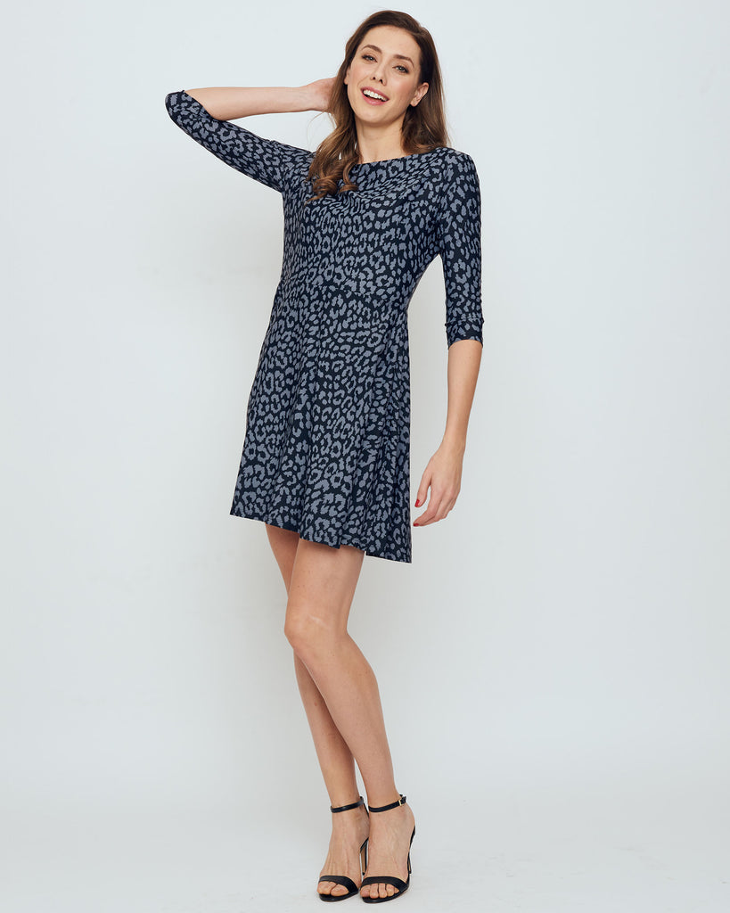 Curacao Fit-n-Flare Dress in Grey Snow Leopard