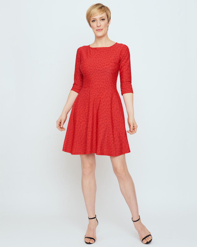 Curacao Fit-n-Flare Dress in Red Snow Leopard
