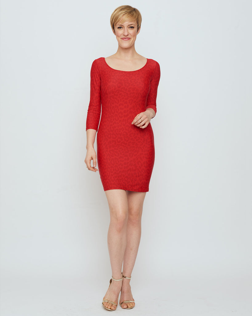 Adelaide Mini Dress in Red Snow Leopard