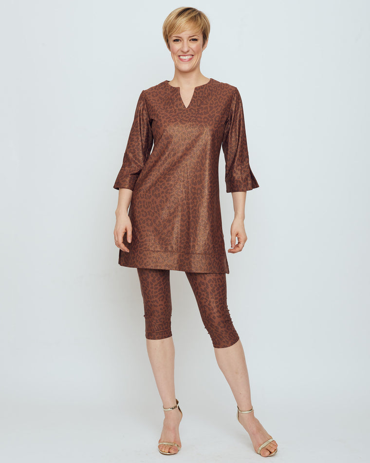 Avian Tunic Dress in Brown Metallic Snow Leopard