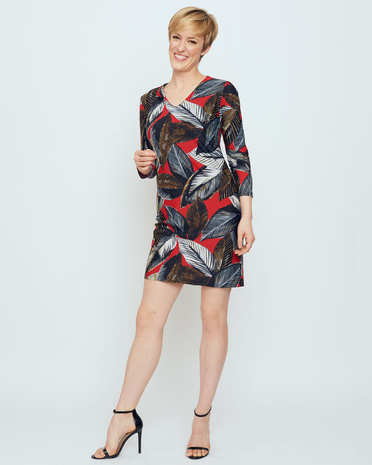 Barbuda 3/4 Sleeve V-Neck Dress in Red A New Leaf