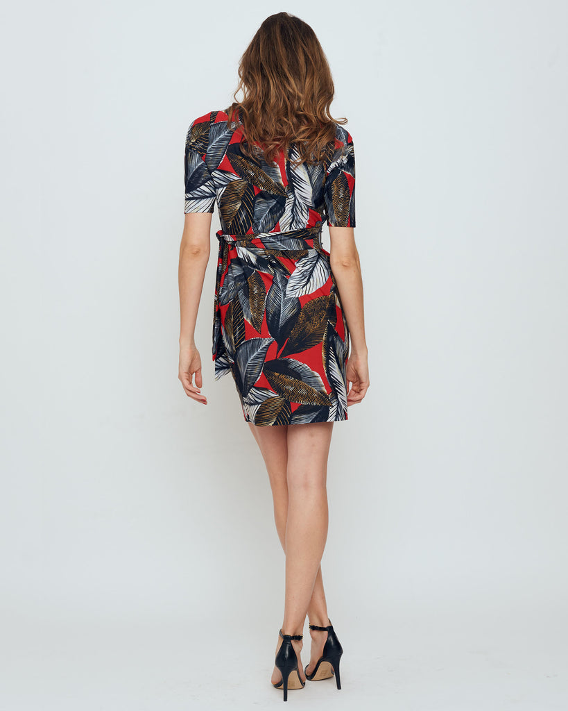 Tahiti Faux Wrap Dress in Red A New Leaf